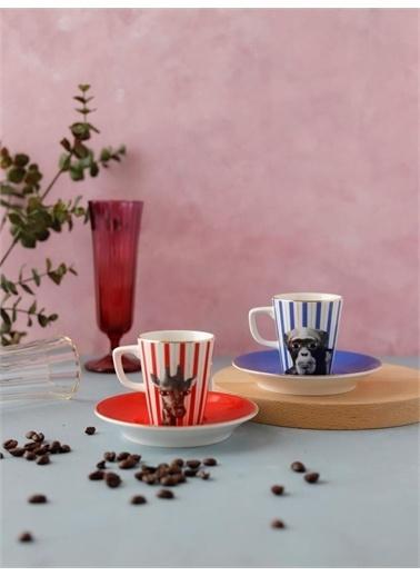 Porland Porland Wild Life Monkey Giraffe Kahve Takımı 4 ParÇa 75Cc Renkli